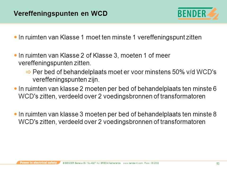 © BENDER Benelux BV NL-4827 HJ BREDA Netherlands www.bender-nl.com Fxxx / 06.2002 50 Vereffeningspunten en WCD In ruimten van Klasse 1 moet ten minste