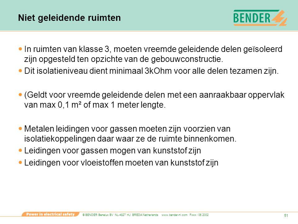 © BENDER Benelux BV NL-4827 HJ BREDA Netherlands www.bender-nl.com Fxxx / 06.2002 51 Niet geleidende ruimten In ruimten van klasse 3, moeten vreemde g