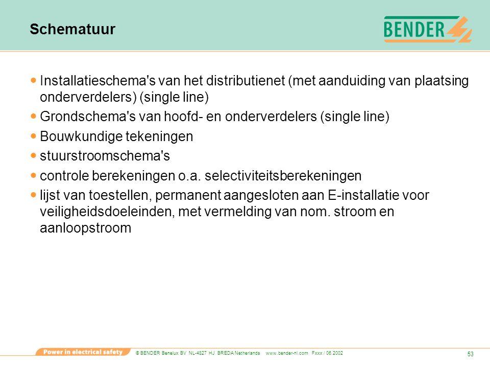 © BENDER Benelux BV NL-4827 HJ BREDA Netherlands www.bender-nl.com Fxxx / 06.2002 53 Schematuur Installatieschema's van het distributienet (met aandui