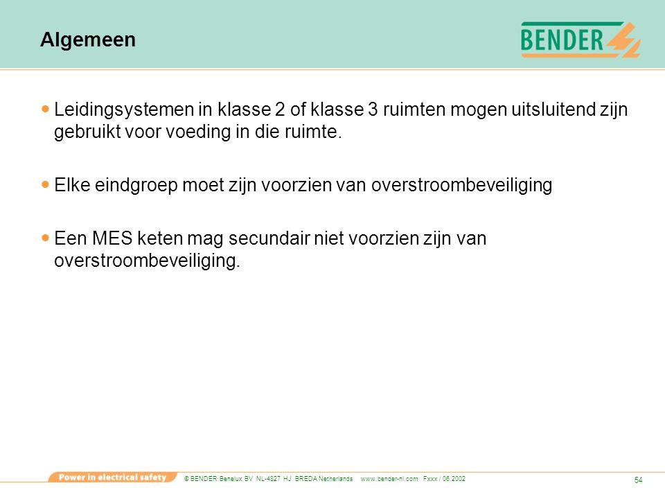 © BENDER Benelux BV NL-4827 HJ BREDA Netherlands www.bender-nl.com Fxxx / 06.2002 54 Algemeen Leidingsystemen in klasse 2 of klasse 3 ruimten mogen ui