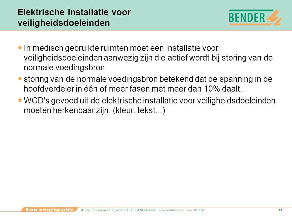 © BENDER Benelux BV NL-4827 HJ BREDA Netherlands www.bender-nl.com Fxxx / 06.2002 55 Elektrische installatie voor veiligheidsdoeleinden In medisch geb