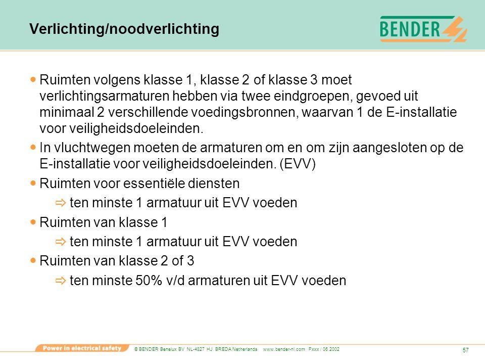 © BENDER Benelux BV NL-4827 HJ BREDA Netherlands www.bender-nl.com Fxxx / 06.2002 57 Verlichting/noodverlichting Ruimten volgens klasse 1, klasse 2 of