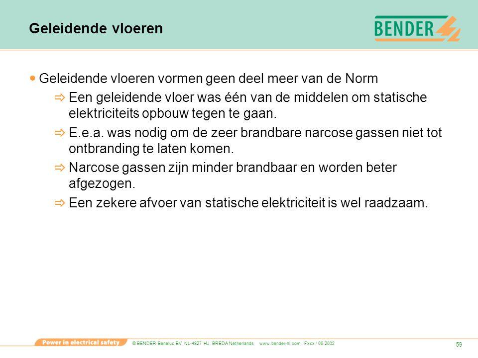 © BENDER Benelux BV NL-4827 HJ BREDA Netherlands www.bender-nl.com Fxxx / 06.2002 59 Geleidende vloeren Geleidende vloeren vormen geen deel meer van d