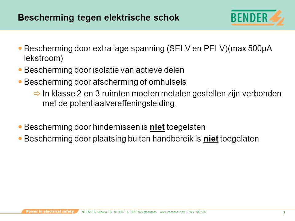 © BENDER Benelux BV NL-4827 HJ BREDA Netherlands www.bender-nl.com Fxxx / 06.2002 9 Bescherming tegen elektrische schok Bescherming bij optreden van een defect  Automatische uitschakeling van de voeding TN stelsel  Klasse 1 ruimten, groepen tot 32A.