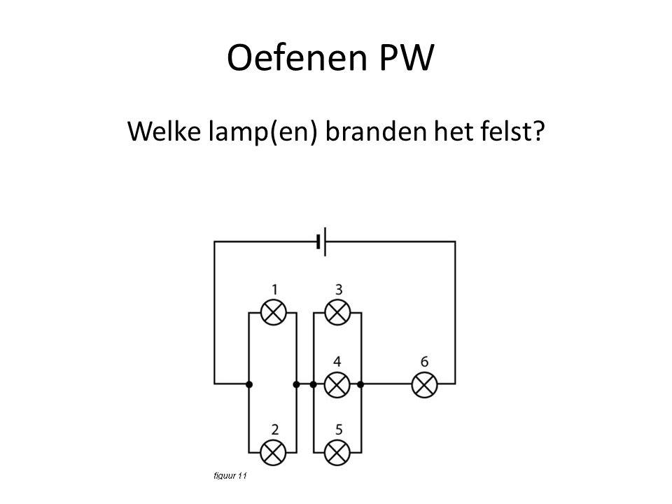 Oefenen PW Welke schakelaars moeten dicht als je alleen lamp 1 wilt laten branden?