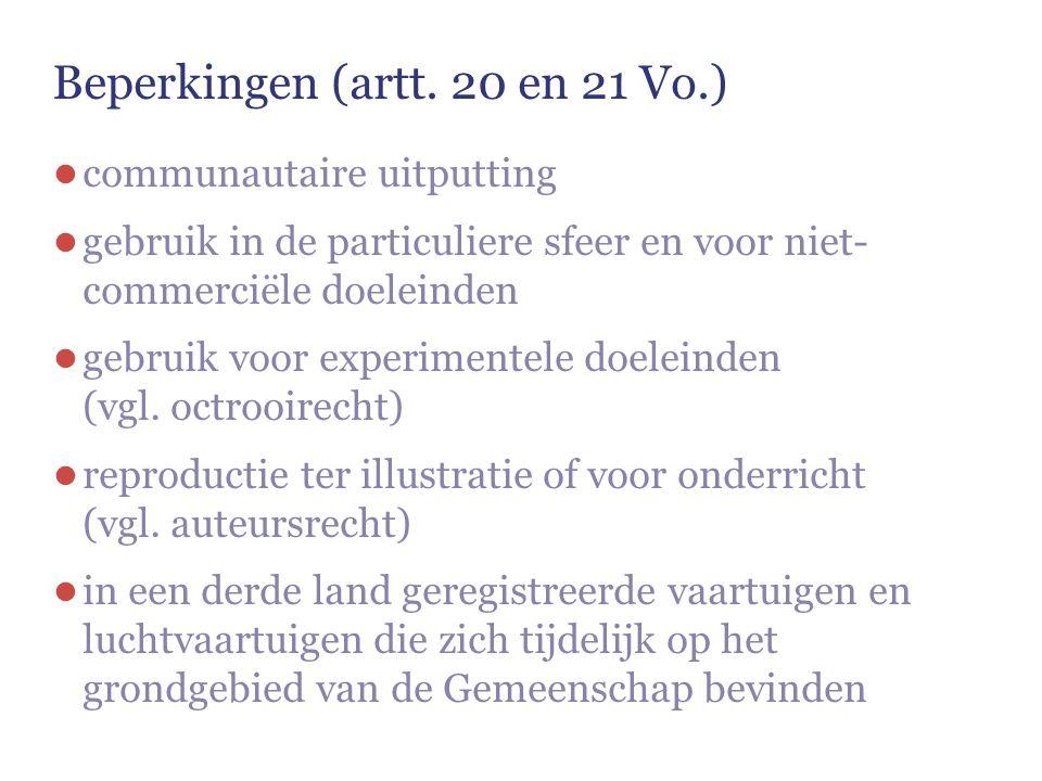 Beperkingen (artt. 20 en 21 Vo.) ● communautaire uitputting ● gebruik in de particuliere sfeer en voor niet- commerciële doeleinden ● gebruik voor exp