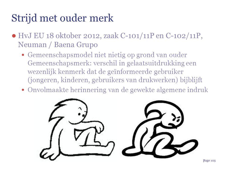 Page 105page 105 Strijd met ouder merk ● HvJ EU 18 oktober 2012, zaak C-101/11P en C-102/11P, Neuman / Baena Grupo Gemeenschapsmodel niet nietig op gr