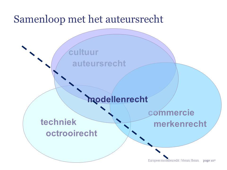 Europees modellenrecht | bbmm/fbmmpage 107 techniek commercie cultuur octrooirecht merkenrecht auteursrecht modellenrecht Samenloop met het auteursrec