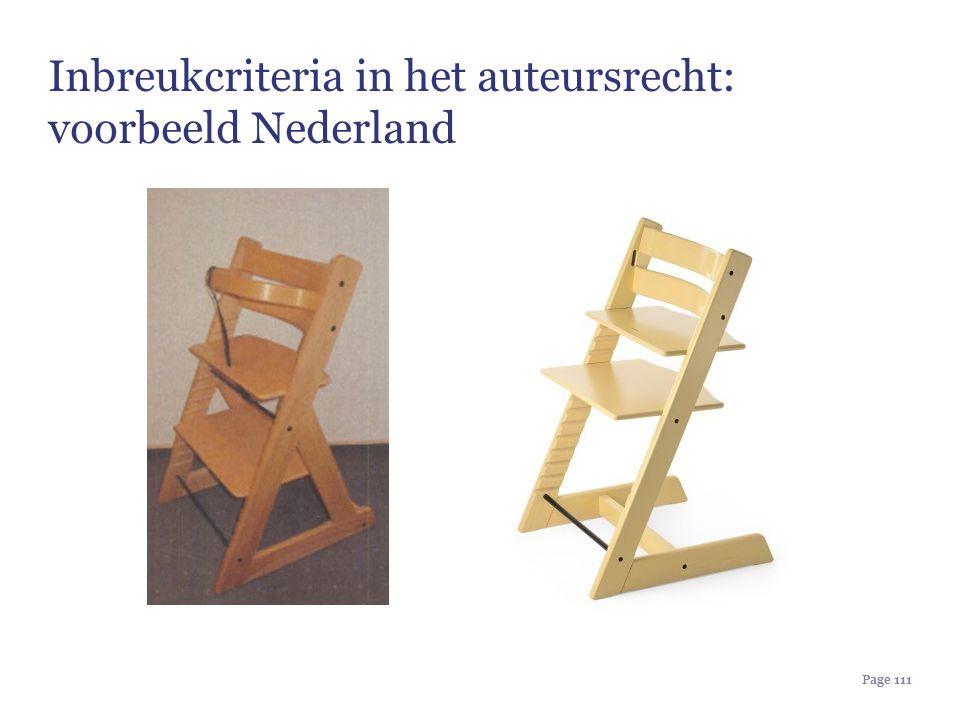 Page 111 Inbreukcriteria in het auteursrecht: voorbeeld Nederland