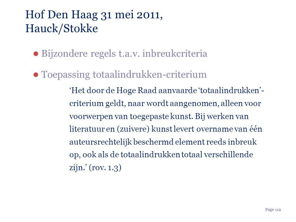 Page 112 Hof Den Haag 31 mei 2011, Hauck/Stokke ● Bijzondere regels t.a.v. inbreukcriteria ● Toepassing totaalindrukken-criterium 'Het door de Hoge Ra