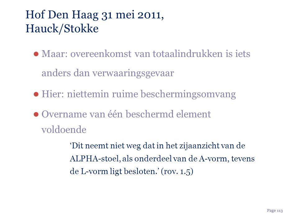 Page 113 Hof Den Haag 31 mei 2011, Hauck/Stokke ● Maar: overeenkomst van totaalindrukken is iets anders dan verwaaringsgevaar ● Hier: niettemin ruime