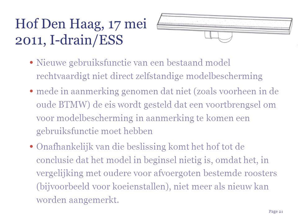 Hof Den Haag, 17 mei 2011, I-drain/ESS Nieuwe gebruiksfunctie van een bestaand model rechtvaardigt niet direct zelfstandige modelbescherming mede in a