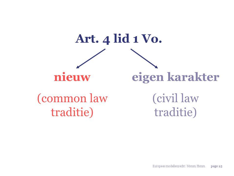 Europees modellenrecht | bbmm/fbmmpage 25 Art. 4 lid 1 Vo. nieuw (common law traditie) eigen karakter (civil law traditie)