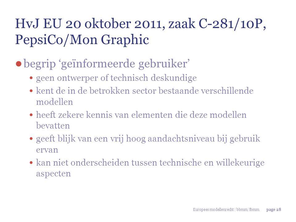 Europees modellenrecht | bbmm/fbmmpage 28 HvJ EU 20 oktober 2011, zaak C-281/10P, PepsiCo/Mon Graphic ● begrip 'geïnformeerde gebruiker' geen ontwerpe