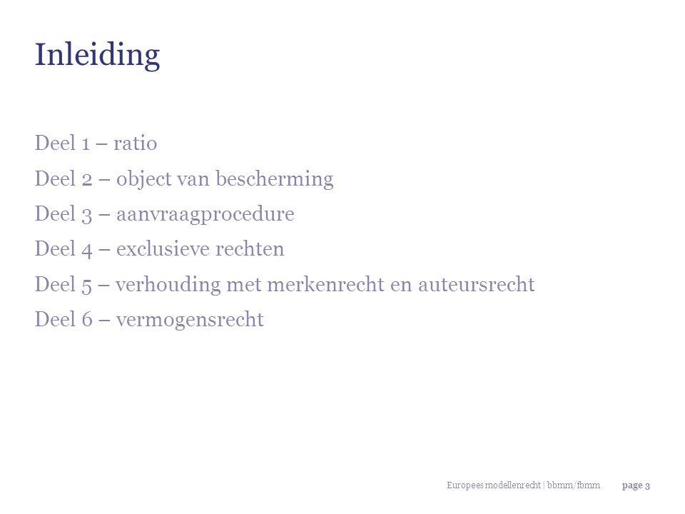 Europees modellenrecht | bbmm/fbmmpage 3 Deel 1 – ratio Deel 2 – object van bescherming Deel 3 – aanvraagprocedure Deel 4 – exclusieve rechten Deel 5