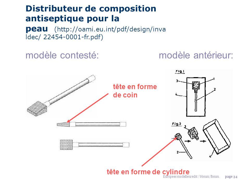 Europees modellenrecht | bbmm/fbmmpage 34 Distributeur de composition antiseptique pour la peau (http://oami.eu.int/pdf/design/inva ldec/ 22454-0001-f