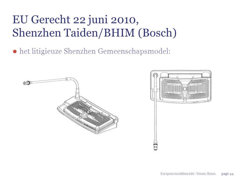 Europees modellenrecht | bbmm/fbmmpage 44 EU Gerecht 22 juni 2010, Shenzhen Taiden/BHIM (Bosch) ● het litigieuze Shenzhen Gemeenschapsmodel: