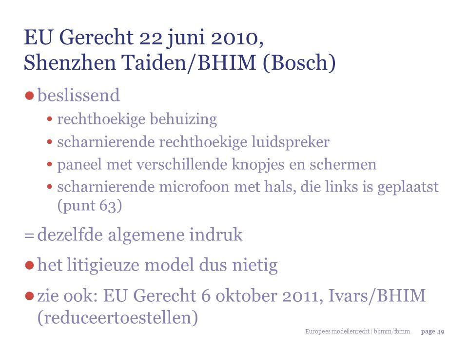 Europees modellenrecht | bbmm/fbmmpage 49 EU Gerecht 22 juni 2010, Shenzhen Taiden/BHIM (Bosch) ● beslissend rechthoekige behuizing scharnierende rech