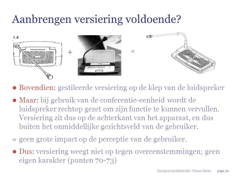 Europees modellenrecht | bbmm/fbmmpage 50 ● Bovendien: gestileerde versiering op de klep van de luidspreker ● Maar: bij gebruik van de conferentie-een