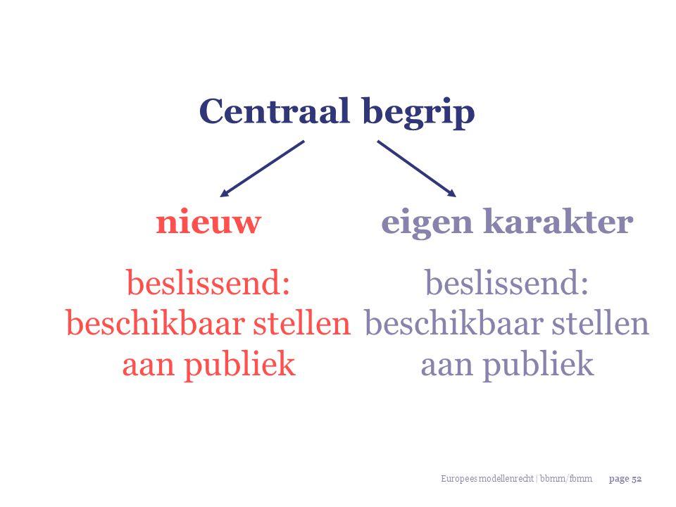 Europees modellenrecht | bbmm/fbmmpage 52 Centraal begrip nieuw beslissend: beschikbaar stellen aan publiek eigen karakter beslissend: beschikbaar ste