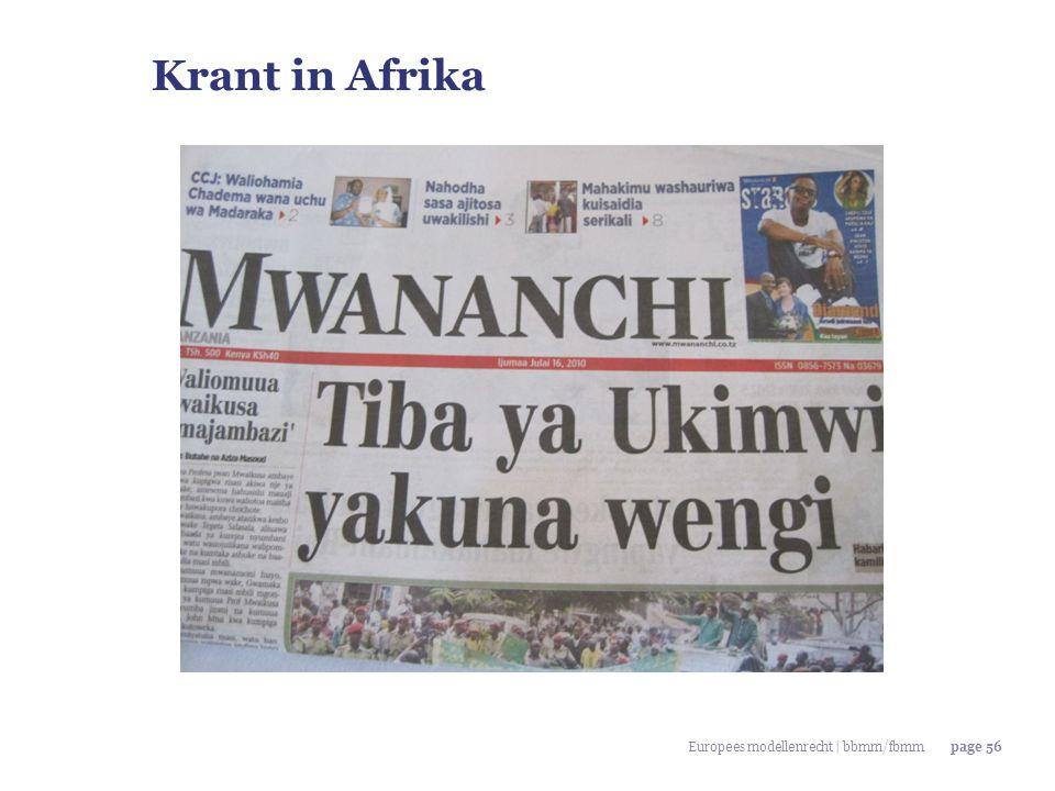 Europees modellenrecht | bbmm/fbmmpage 56 Krant in Afrika