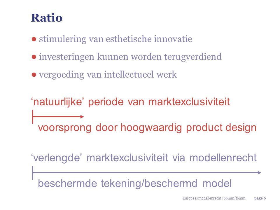 Europees modellenrecht | bbmm/fbmmpage 27 Eigen karakter: globale vergelijking ● '…indien de algemene indruk die het [model] bij de geïnformeerde gebruiker wekt, verschilt van de algemene indruk die bij die gebruiker wordt gewekt door modellen die [eerder] voor het publiek beschikbaar zijn gesteld.' (art.