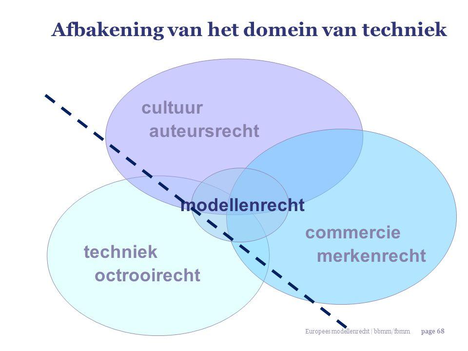 Europees modellenrecht | bbmm/fbmmpage 68 Afbakening van het domein van techniek techniek commercie cultuur octrooirecht merkenrecht auteursrecht mode
