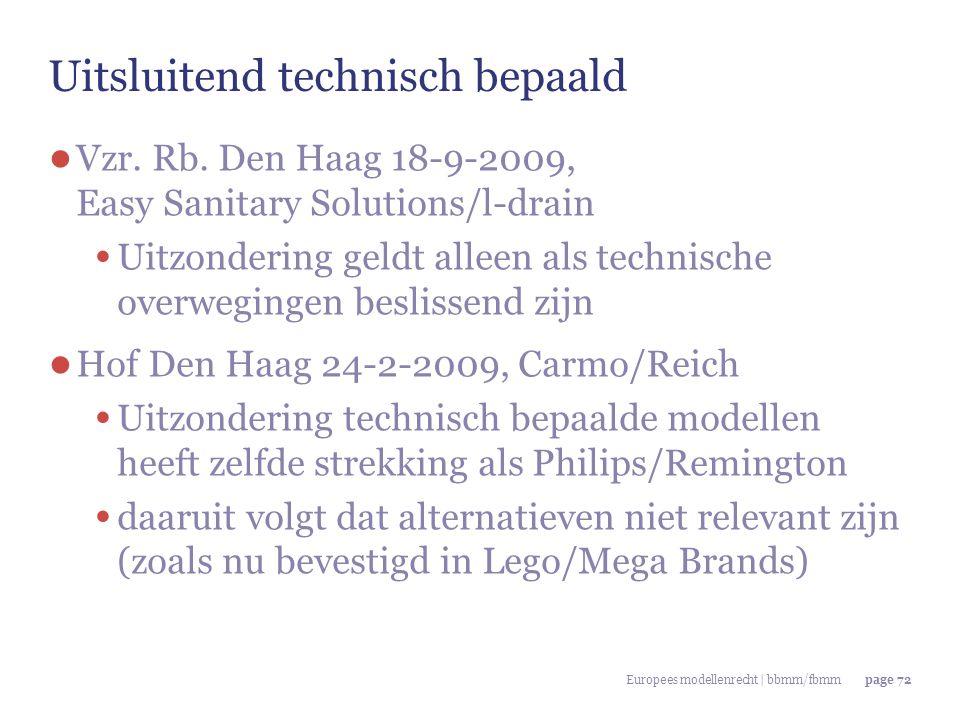 Europees modellenrecht | bbmm/fbmmpage 72 Uitsluitend technisch bepaald ● Vzr. Rb. Den Haag 18-9-2009, Easy Sanitary Solutions/l-drain Uitzondering ge