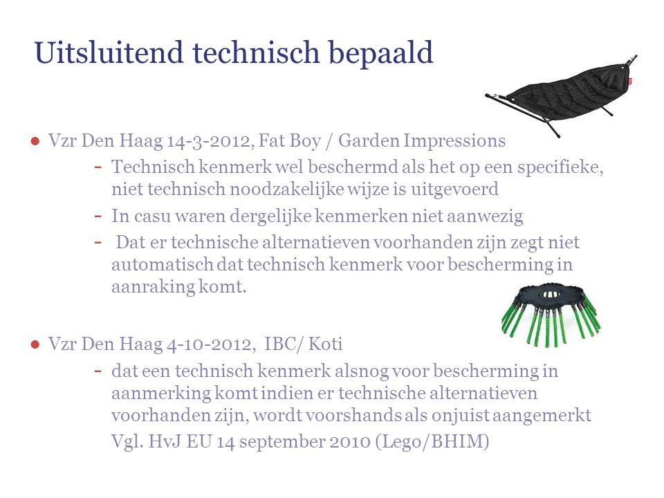 Uitsluitend technisch bepaald ● Vzr Den Haag 14-3-2012, Fat Boy / Garden Impressions - Technisch kenmerk wel beschermd als het op een specifieke, niet