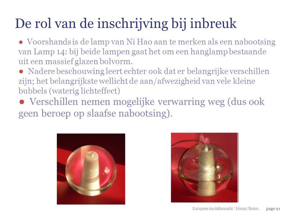 Europees modellenrecht | bbmm/fbmmpage 91 De rol van de inschrijving bij inbreuk ● Voorshands is de lamp van Ni Hao aan te merken als een nabootsing v