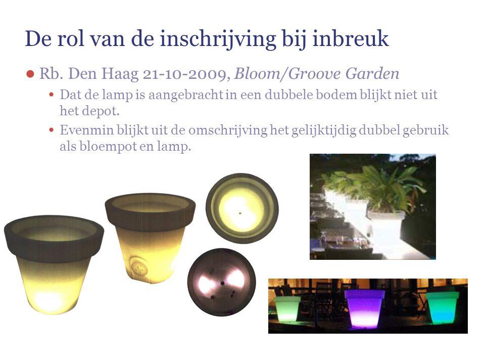 De rol van de inschrijving bij inbreuk ● Rb. Den Haag 21-10-2009, Bloom/Groove Garden Dat de lamp is aangebracht in een dubbele bodem blijkt niet uit