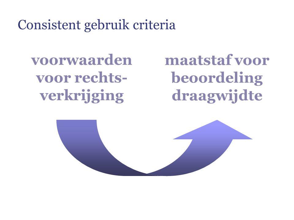 voorwaarden voor rechts- verkrijging maatstaf voor beoordeling draagwijdte Consistent gebruik criteria