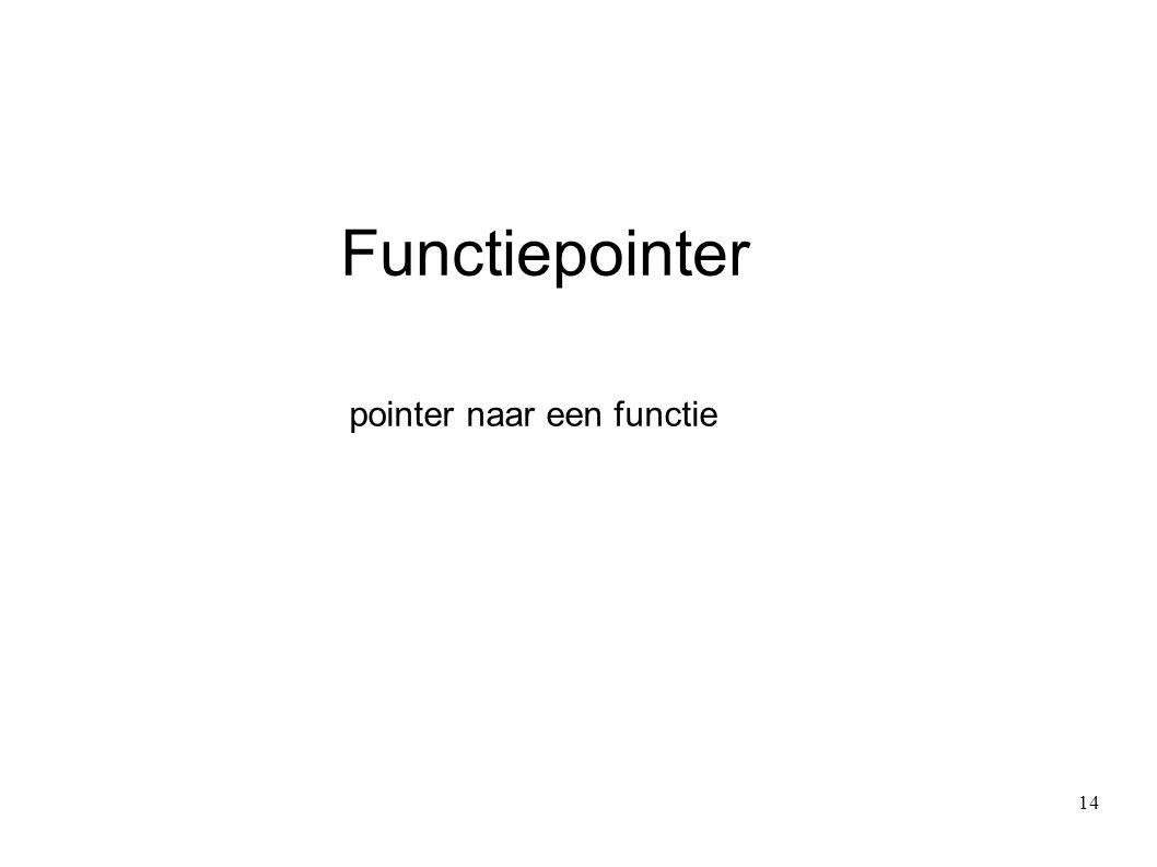 Functiepointer pointer naar een functie 14