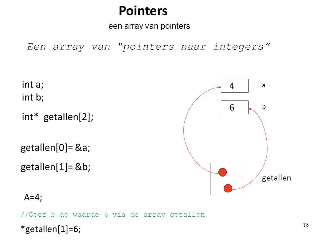 int* getallen[2]; getallen Een array van pointers naar integers getallen[0]= &a; getallen[1]= &b; int a; int b; b a Pointers een array van pointers A=4; 4 *getallen[1]=6; 6 18 //Geef b de waarde 6 via de array getallen
