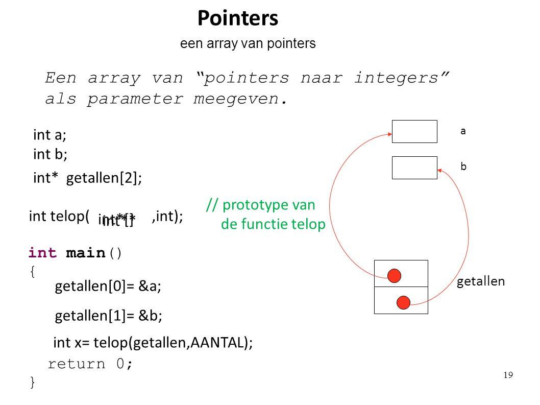 "int* getallen[2]; getallen Een array van ""pointers naar integers"" als parameter meegeven. getallen[0]= &a; getallen[1]= &b; int a; int b; b a int x= t"