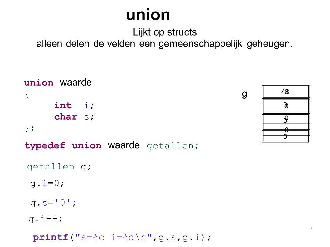 union Lijkt op structs alleen delen de velden een gemeenschappelijk geheugen.