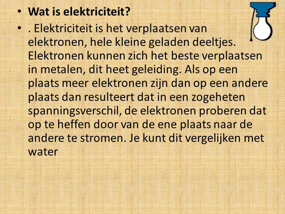 Wat is elektriciteit?. Elektriciteit is het verplaatsen van elektronen, hele kleine geladen deeltjes. Elektronen kunnen zich het beste verplaatsen in