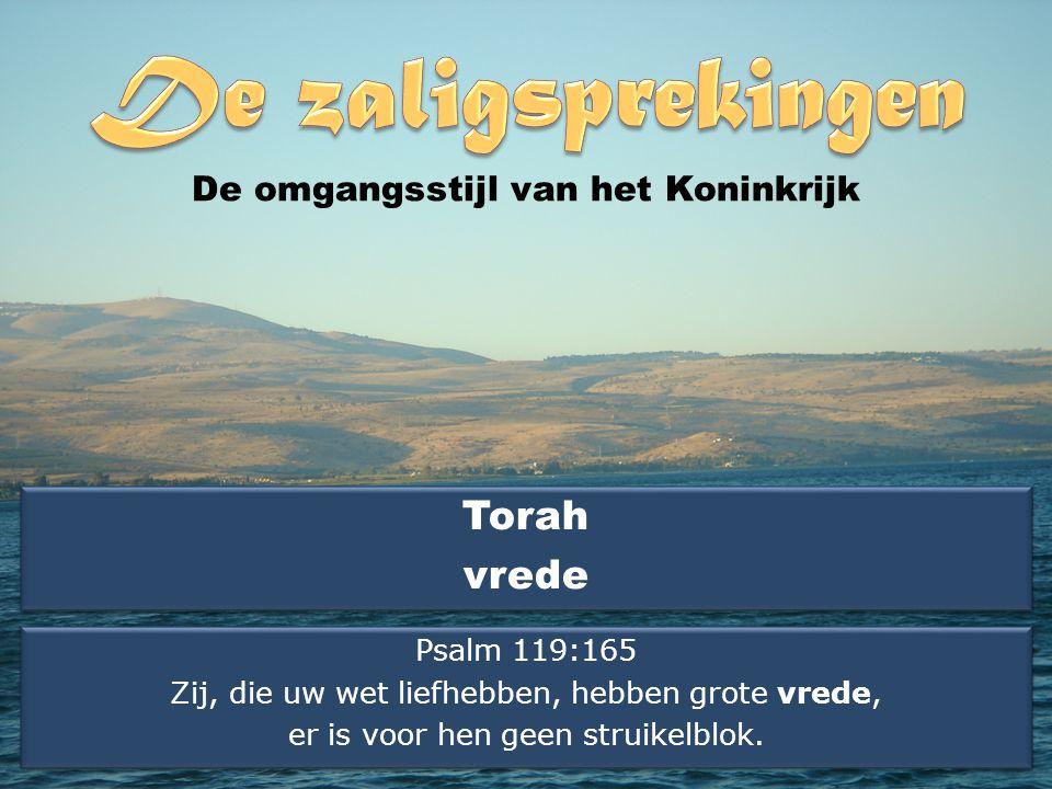 Torah vrede Torah vrede De omgangsstijl van het Koninkrijk Psalm 119:165 Zij, die uw wet liefhebben, hebben grote vrede, er is voor hen geen struikelblok.