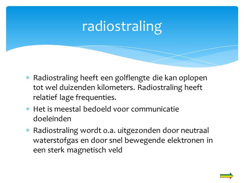  Radiostraling heeft een golflengte die kan oplopen tot wel duizenden kilometers. Radiostraling heeft relatief lage frequenties.  Het is meestal bed