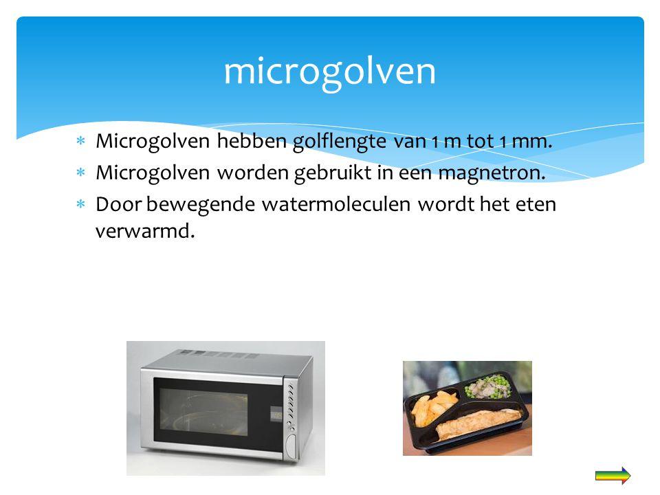  Microgolven hebben golflengte van 1 m tot 1 mm.  Microgolven worden gebruikt in een magnetron.  Door bewegende watermoleculen wordt het eten verwa