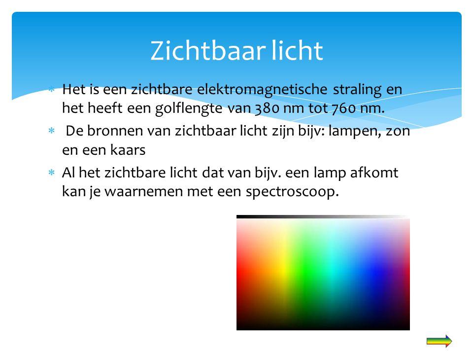  Het is een zichtbare elektromagnetische straling en het heeft een golflengte van 380 nm tot 760 nm.  De bronnen van zichtbaar licht zijn bijv: lamp