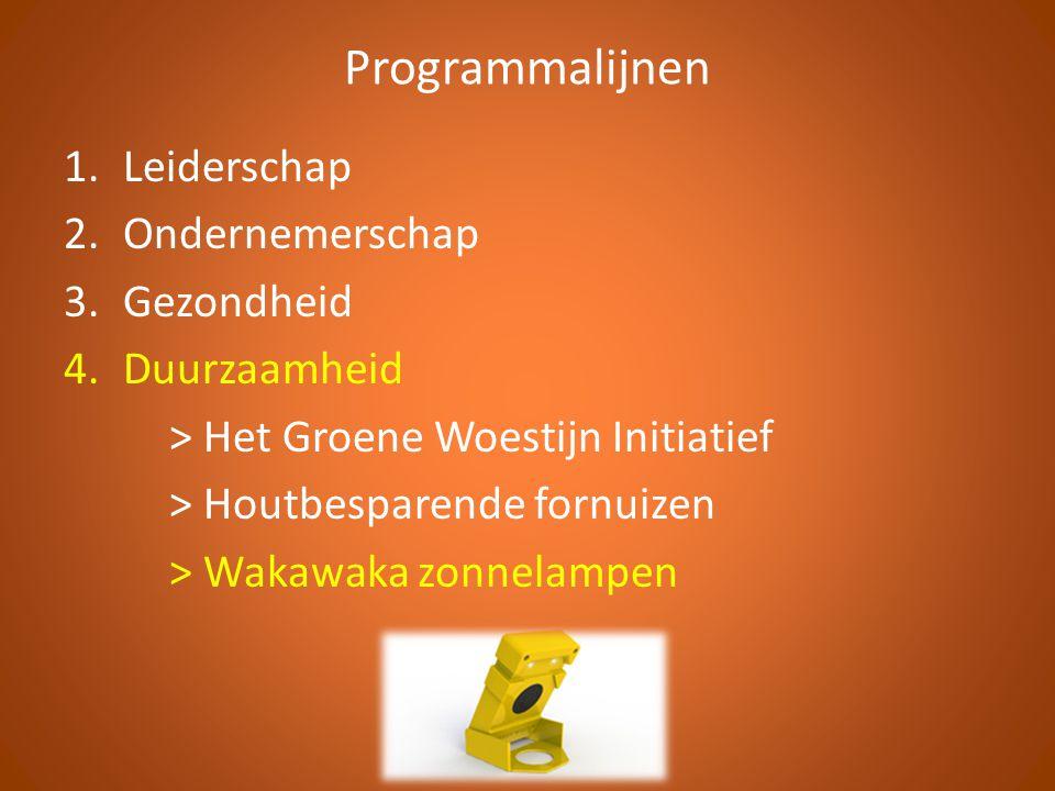 Programmalijnen 1.Leiderschap 2.Ondernemerschap 3.Gezondheid 4.Duurzaamheid > Het Groene Woestijn Initiatief > Houtbesparende fornuizen > Wakawaka zonnelampen