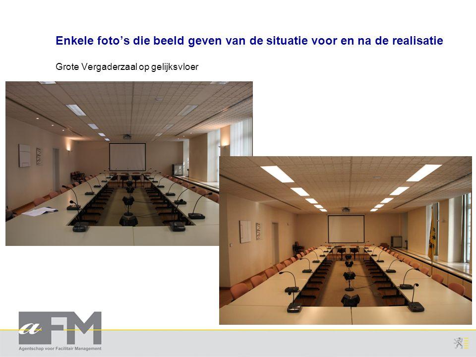 Enkele foto's die beeld geven van de situatie voor en na de realisatie Grote Vergaderzaal op gelijksvloer