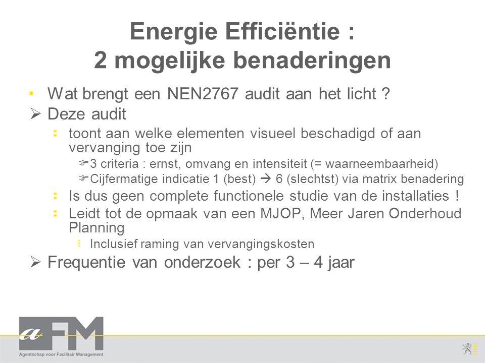 Energie Efficiëntie : 2 mogelijke benaderingen Wat brengt een NEN2767 audit aan het licht ?  Deze audit toont aan welke elementen visueel beschadigd
