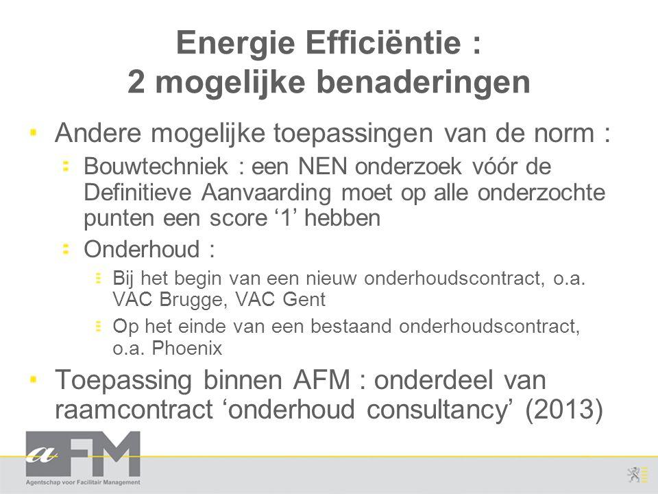 Energie Efficiëntie : 2 mogelijke benaderingen Andere mogelijke toepassingen van de norm : Bouwtechniek : een NEN onderzoek vóór de Definitieve Aanvaa