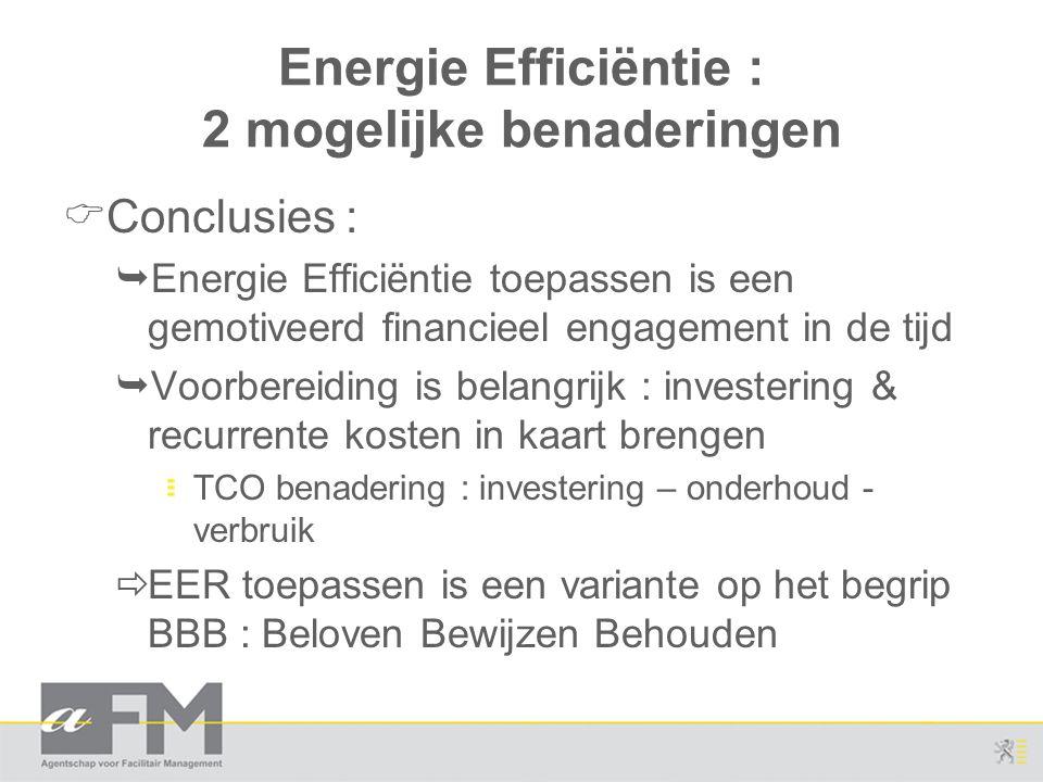 Energie Efficiëntie : 2 mogelijke benaderingen  Conclusies :  Energie Efficiëntie toepassen is een gemotiveerd financieel engagement in de tijd  Vo