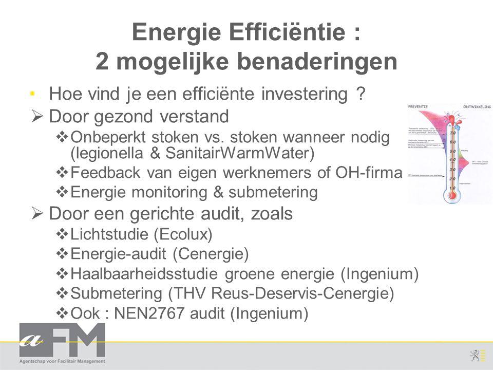 Energie Efficiëntie : 2 mogelijke benaderingen Hoe vind je een efficiënte investering ?  Door gezond verstand  Onbeperkt stoken vs. stoken wanneer n