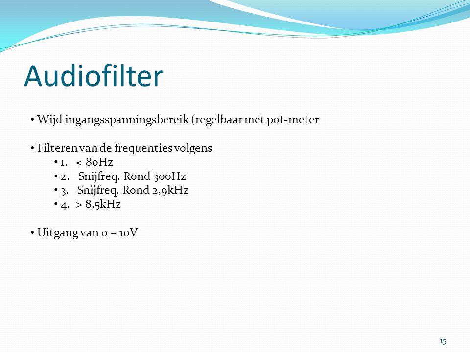 Audiofilter Wijd ingangsspanningsbereik (regelbaar met pot-meter Filteren van de frequenties volgens 1.