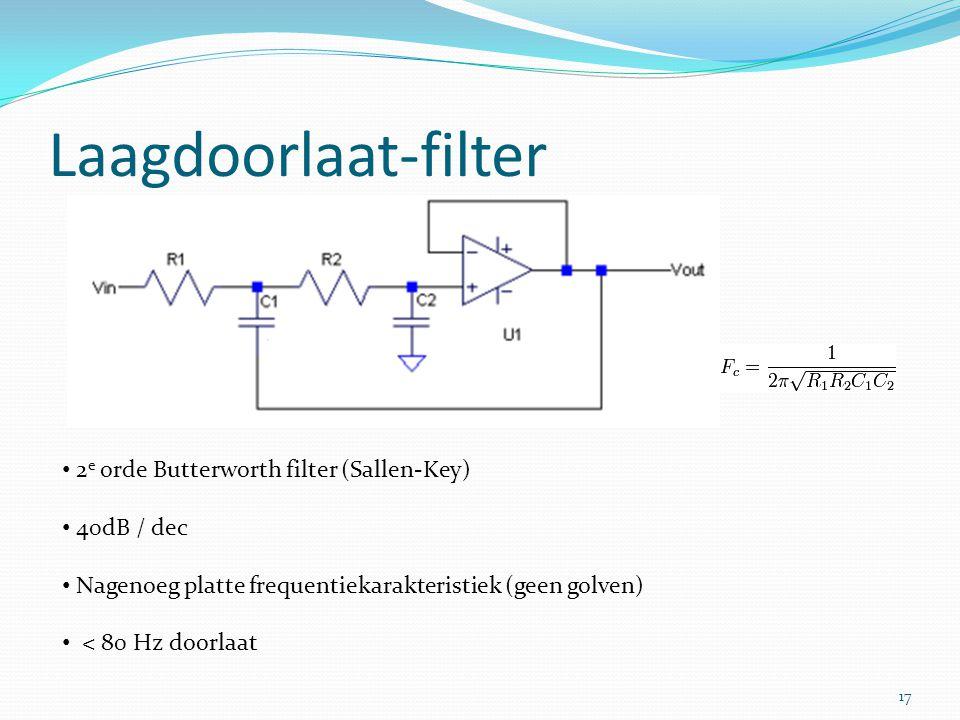 Laagdoorlaat-filter 2 e orde Butterworth filter (Sallen-Key) 40dB / dec Nagenoeg platte frequentiekarakteristiek (geen golven) < 80 Hz doorlaat 17