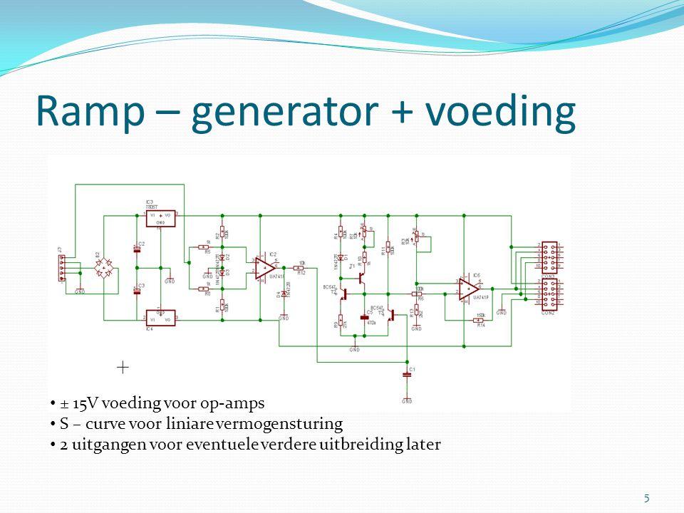 Ramp – generator + voeding ± 15V voeding voor op-amps S – curve voor liniare vermogensturing 2 uitgangen voor eventuele verdere uitbreiding later 5